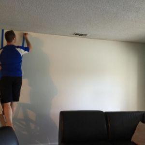 Residential interior paint in progress - Black stripes